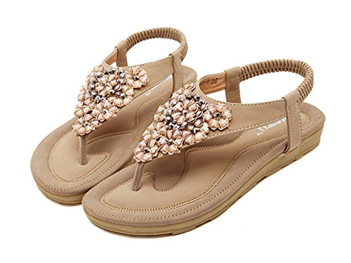 Calzado De Mujer Bohemia Plana Des Zapatillas Sandalias Con Pedreria Albaricoque