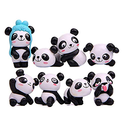 Cute Panda Figures Toys, Kimkoala 8Pcs Naughty Plastic Miniature Panda Figurines For Handcraft Fairy Garden Ornaments Micro Landscape Decorations Birthday Cake Toppers Kids Gift