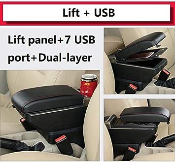 SENYAZON Dual Layer Armrest for Toyota Yaris 2 Hatchback Vitz 2006-2011 Center Console Storage Box Leather Arm Rest Daihatsu Charade Flexible