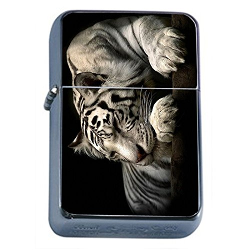 (White Tiger Flip Top Oil Lighter Em1 Smoking Cigarette Silver Case Included)