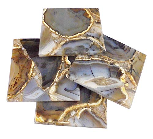 eshoppee Agate Stone Coaster , Cup Mat Mixed Color Inches, Natural Beautiful Stone Crystal Gemstone Agate Beverage Coasters for Drinks Gift Set of 4. Price & Reviews