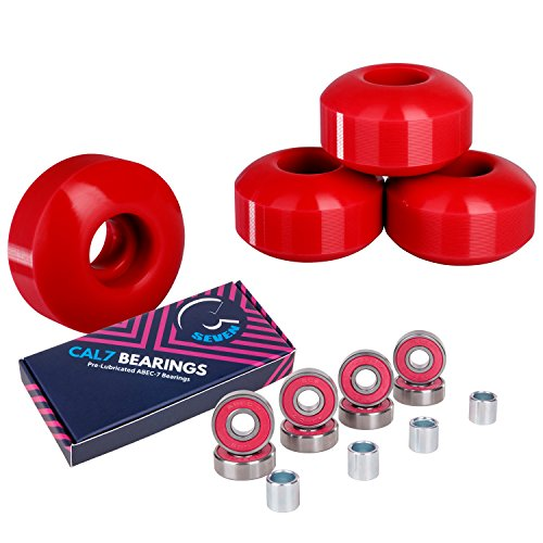 Cal 7 Skateboard Wheels and Bearings | 52mm 99A Wheel Set Combo (Red)