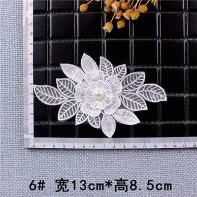 Shoppy Star White Color Organdy Pearl Flower Patches Embroidered Cloth Stickers Bride Veil Dress Accessories Sew On Patch for Clothing DIY: B6 (Organdy Flowers)