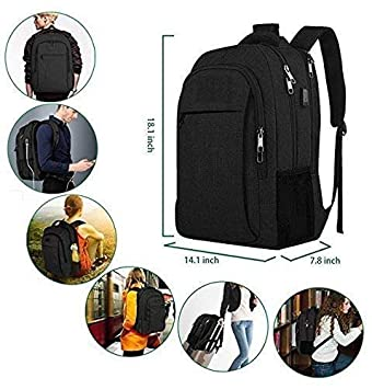 Business Travel Backpack, Laptop Backpack with USB Charging Port for Men Womens Boys Girls, Water Resistant College School BookBag Computer Notebook Student Macbook size 18.1×14.1×7.8 inch