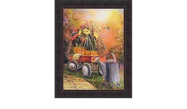 "Jim Hansel /"" Summer Blooms/"" Flowers Hummingbird Art Print Signed 18/"" x 24/"""