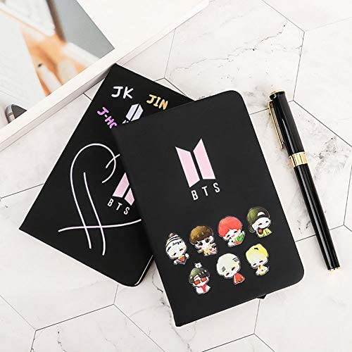 Skisneostype Kpop Notizblock für Notebook mit Comic Name Bangtan Boys Elastische PU Notebook-H01)