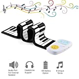 Youqian Flexible Roll Up Piano, Build-in Speaker, Battery OR USB Powered 49 Key Digital Electronic Silicon Rubber Kid's Piano Toy