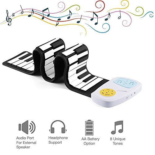 Youqian Flexible Roll Up Piano, Build-in Speaker, Battery OR USB Powered 49 Key Digital Electronic Silicon Rubber Kid's Piano Toy by Youqian