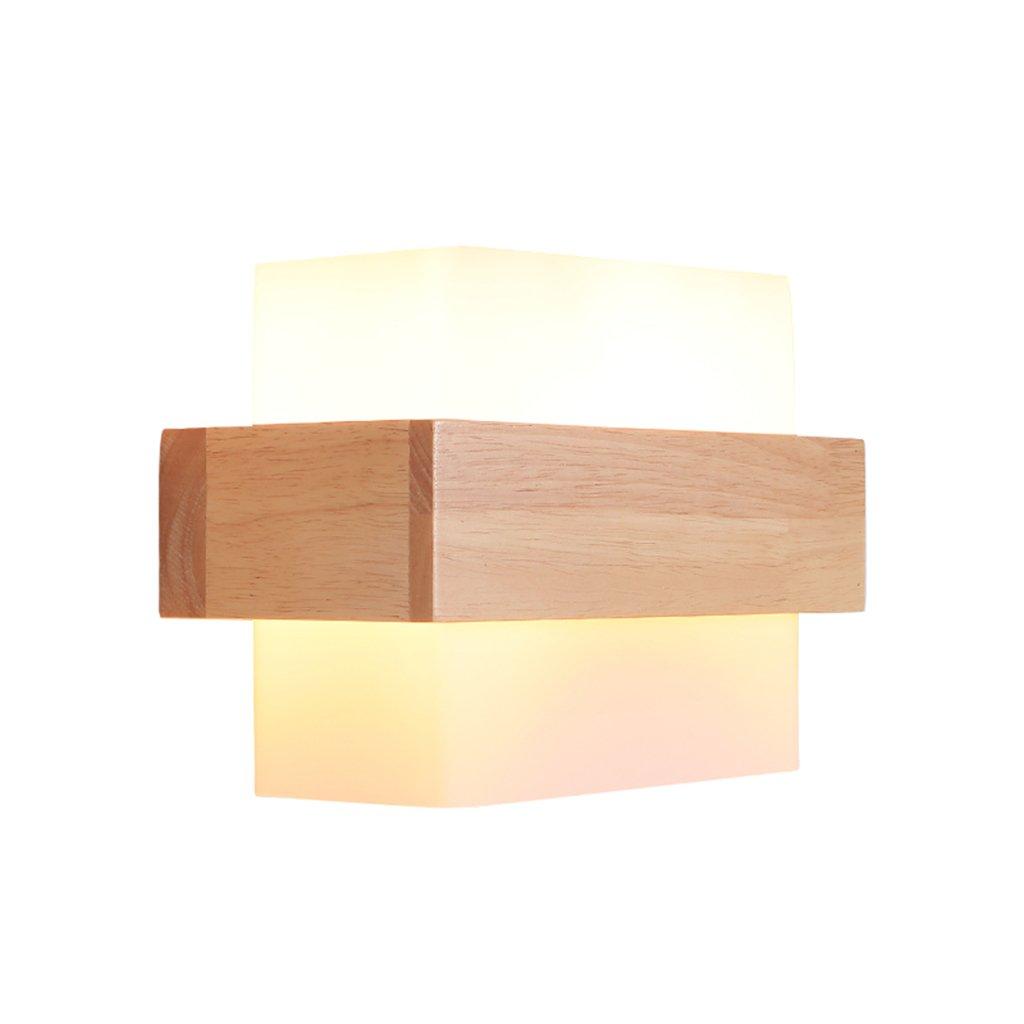 Wood wall light, creative LED salon bedroom night table lamp porch wedding room decoration lamps Single Head E27, 21.5 12CM ( Size : 21.512CM )