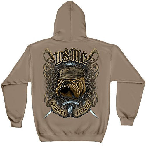 Usmc Bulldog Sweatshirt - USMC BULL DOG CROSSED SWORDS HOODED SWEAT SHIRT BLACK X-LARGE