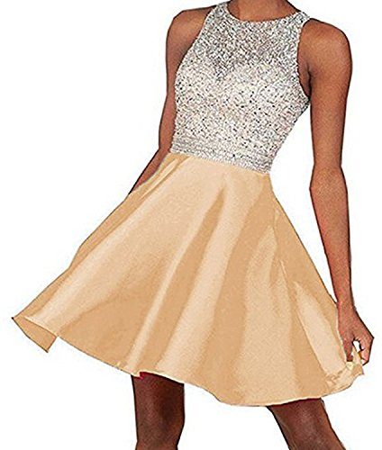 Woman Open Back Satin Dress (Hear Women's Short Beading Open Back Satin Homecoming Dress Prom Gowns 2017 LLL789)