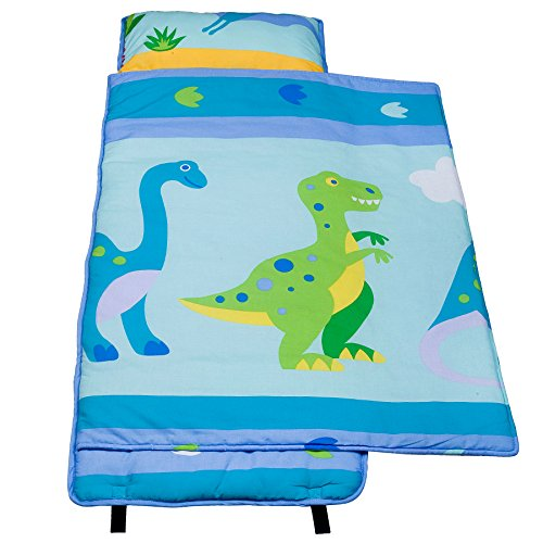 100% Cotton Nap Mat, Olive Kids by Wildkin Children's Cotton Nap Mat with Built in Blanket and Pillowcase, Pillow Insert Included, 100% Cotton, Children Ages 3-7 years – Dinosaur Land