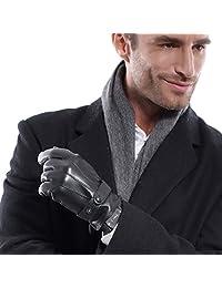 MATSU Men Winter Super Warm Lambksin TouchScreen Caremere Lined Leather Gloves M2011