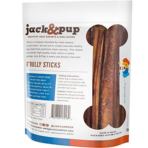 """Jack & Pup 6-inch Premium Grade Odor Free Bully Sticks Dog Treats (50 Pack) – 6"""" Long All Natural Gourmet Dog Treat Chews – Fresh and Savory Beef Flavor – Long Lasting Treat by Jack & Pup (Image #3)"""