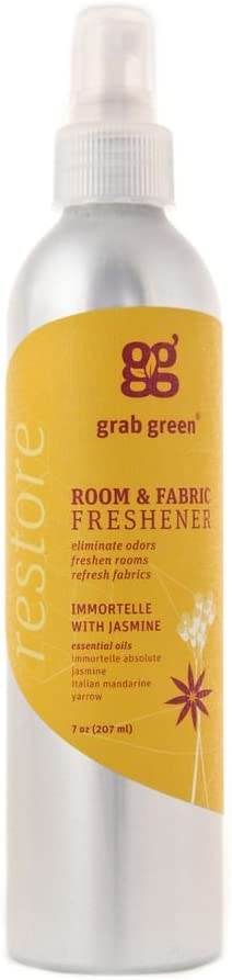 Grab Green NaturalRoom & Fabric Freshener, Phthalate-Free, Immortelle with Jasmine, 7 Ounce Bottle