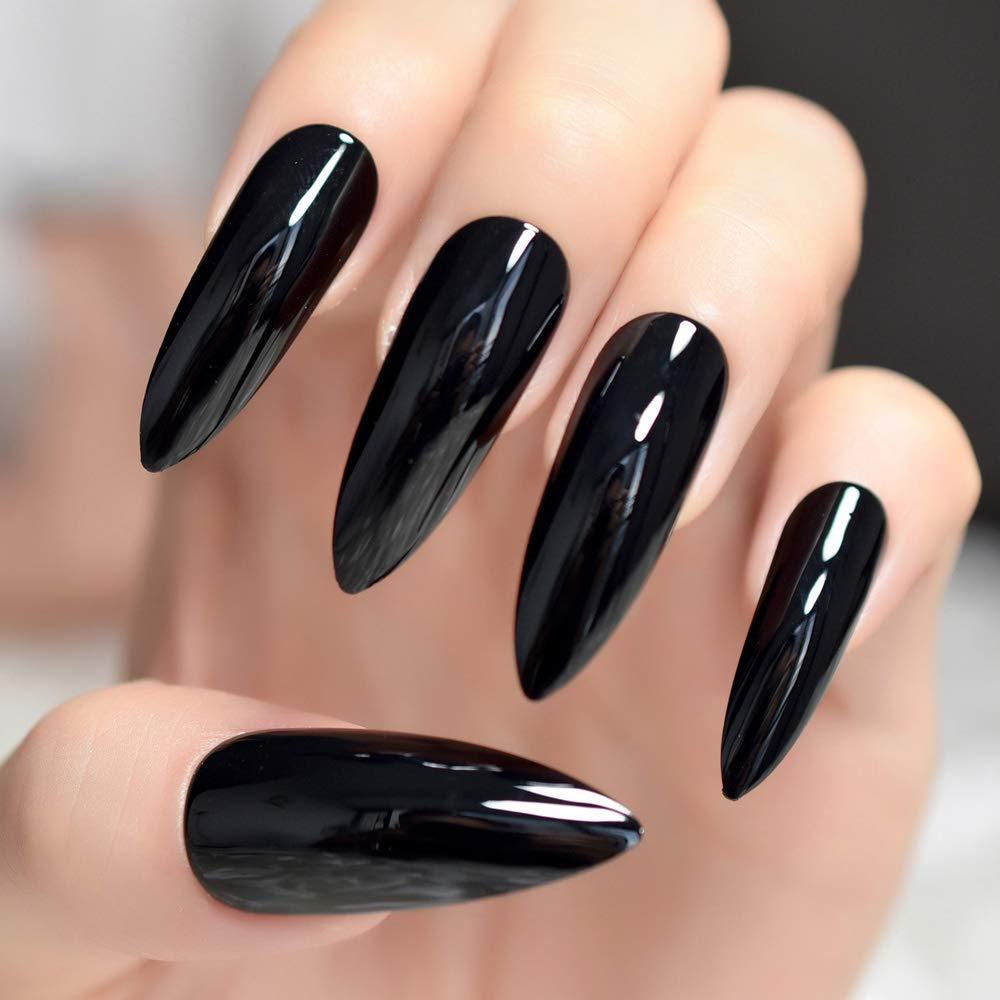EchiQ - Uñas postizas extralargas y afiladas, color negro sólido con puntas de uñas ovaladas, Stilettos, gel UV, color negro brillante, acrílico: Amazon.es: ...