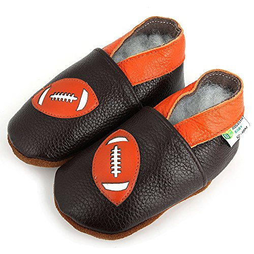 AUGUSTA BABY Baby Boys Girls First Walker Soft Sole Leather Baby Shoes - Genuine Leather Football