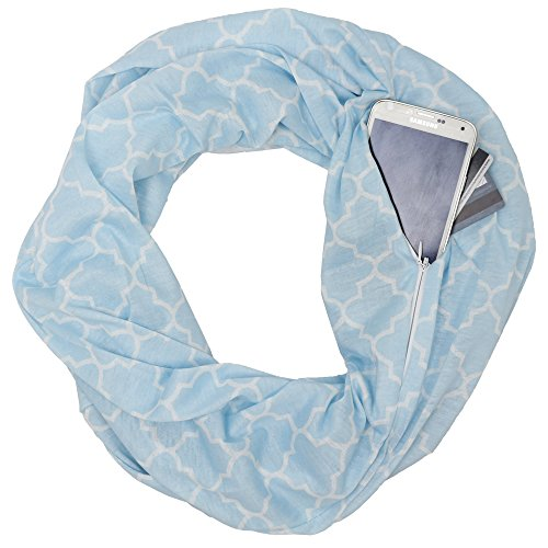 Pop Fashion Pattern Scarf, Womens Infinity Scarf Pattern with Zipper Pocket, Blue Scarves, - Pattern Scarf Pocket
