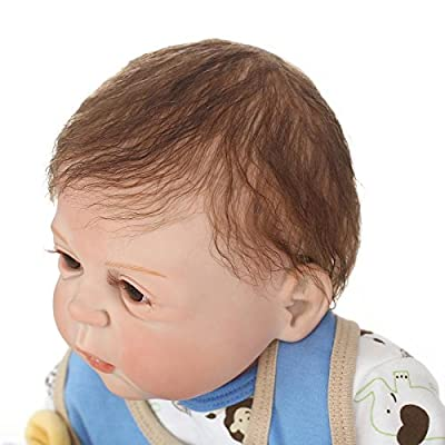 23Inch Full Body Silicone Baby Dolls Anatomically Correct Washable Real Life Baby Boy Dolls Handmade Vinyl Silicone Weighted Reborn Baby Dolls for Ages 3+: Toys & Games