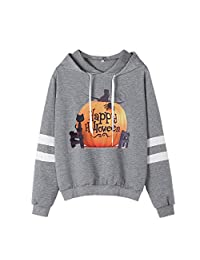 BOLUOYI Womens Halloween Printed Sweatshirt Long Sleeve Casual Hooded Shirt Blouse