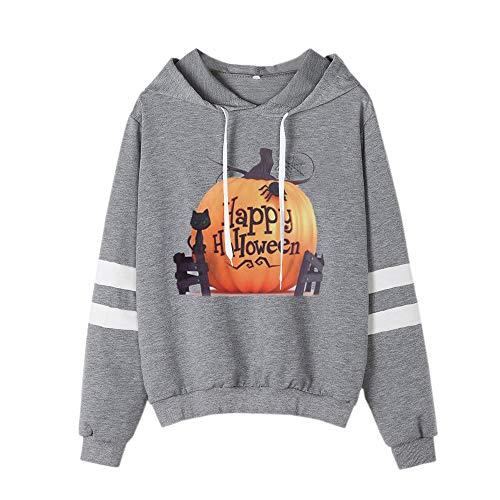 Keepfit Happy Halloween Pumpkin Sweatshirt, Womens Striped Sleeve Casual Hooded Pullover Tops(Gray,L)
