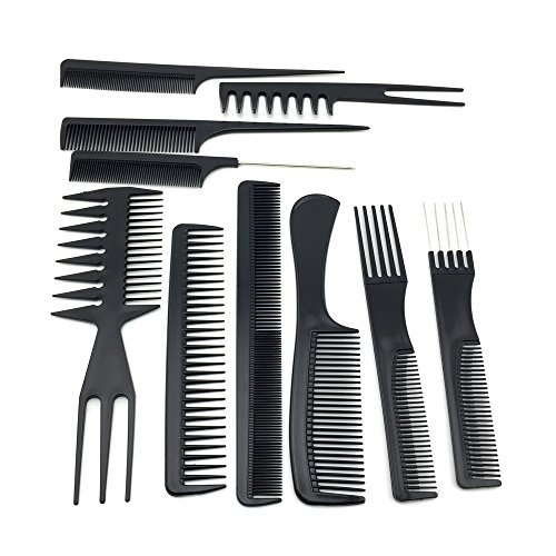 10pcs/black pro salon hair styling hairdressing plastic barbers brush combs set (Unite Dryer compare prices)