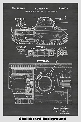 US Army Tank Patent Print Art Poster: Choose From Multiple Size and Background Color Options
