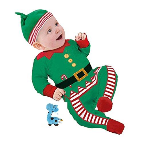 Infant Jungen Mädchen Outfits Kleider,Amcool Weihnachten Baby Strampler+ Hat+ 1pcs Spielzeug (0-3 Monate, Grün)