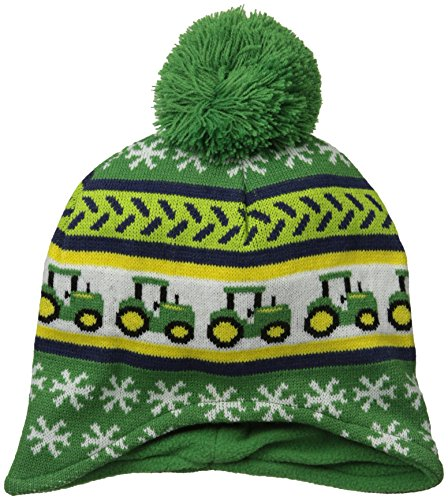 John Deere Toddler Boys' Fair Isle Tractor Beanie Winter Hat, Green, One Size