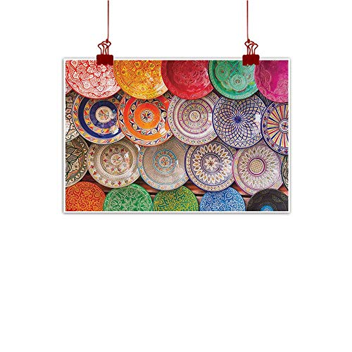 Sunset glow Wall Painting Prints Moroccan,Traditional Arabic Handcrafted Colorful Plates Shot at The Market in Marrakesh, Multicolor 32