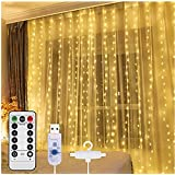 Curtain Light,8 Modes Lighting LED String Lights Remote Control USB Powered Waterproof for Christmas Bedroom Party Wedding Ho