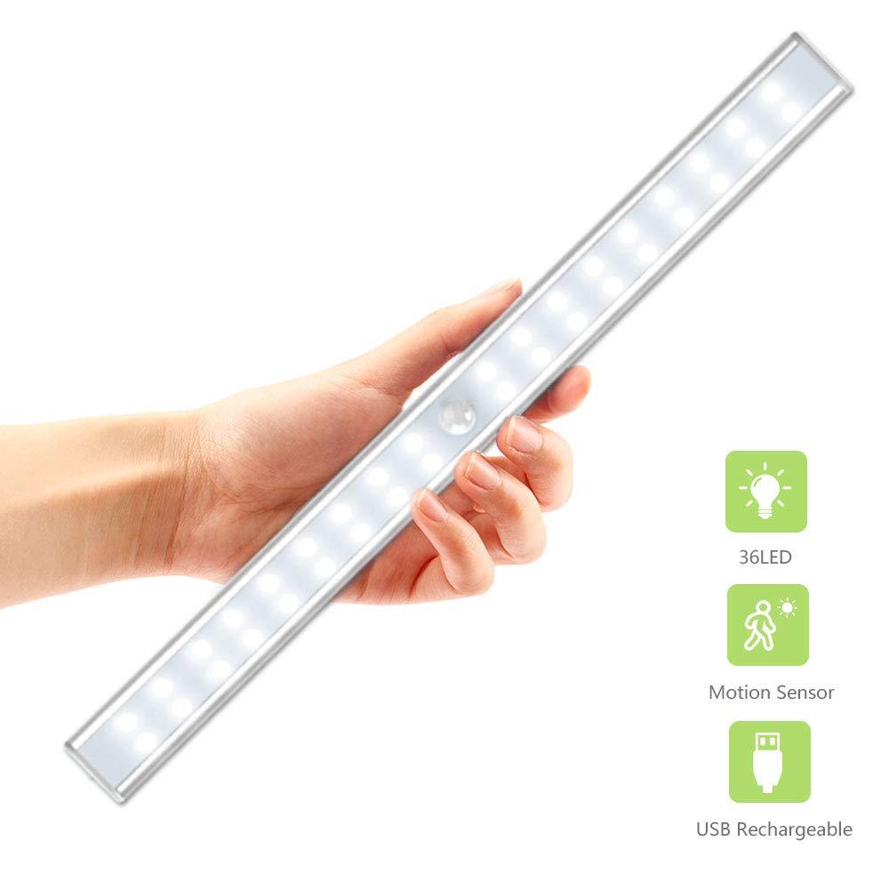 36 LED Closet Light, OxyLED USB Rechargeable Under Cabinet Lightening, Stick-on Cordless Motion Sensor Wardrobe Bar, Super Bright Closet Light with Magnetic Strip
