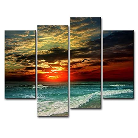 5 Panel Canvas Print Wall Art Painting Pictures for Home Decor Sunflower Painting Arts The Modern Landscape Picture Flower Field Artwork Nature Room Office Decoration… 2017004P