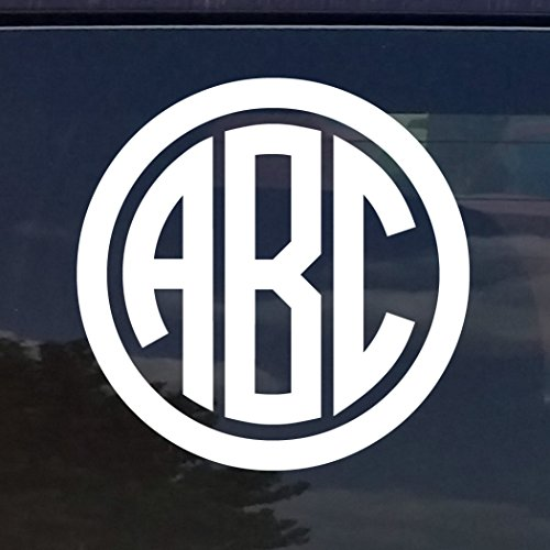 - CUSTOM CIRCLE MONOGRAM INITIALS VINYL DECAL / STICKER CARS YETI CUP LAPTOP PHONE (12 COLORS) (3