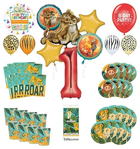 Lion King 1st Birthday Party Supplies 8 Guest Decoration Kit with Simba, Nala and Friends Balloon - Party Birthday Lion