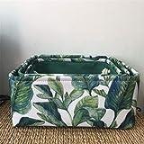 DTGTHDAS Foldable Nordic Style Cotton Linen Storage Basket Box Laundry Barrel Bag Sundries Holder Magazine Kids Toys Organizer S/M/L Fresh Leaves 35x25x16cm