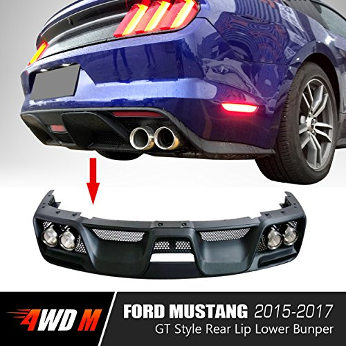 4WDMUSCLE GT350 Style Rear Diffuser Kit With Dual Exhaust Tips for 2015-2017 Ford Mustang - Unpainted - Diffuser Cast
