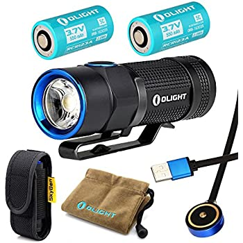 Olight S1R Baton Cree XM-L2 LED 900 Lumens Rechargeable EDC Flashlight With RCR123A 16340 Batteries and Skyben Holster