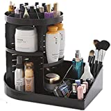 Cq acrylic 360 Rotating Makeup Organizer, DIY Adjustable Makeup Carousel Spinning Holder Storage Rack, Large Capacity Make up Caddy Shelf Cosmetics Organizer Box, Black