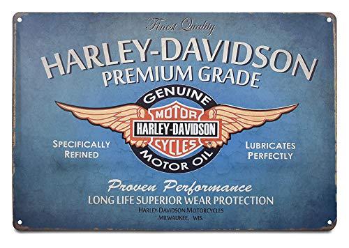 Harley Davidson Retro Motor Oil - K&H Harley Davidson Motorcycle Motor Oil Retro Metal Tin Sign Posters Wall Decor 12X8-Inch