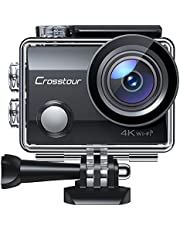"""$35 » Action Camera CT7000 Full HD Wi-Fi 12MP PC Webcam Waterproof Cam 2"""" LCD 30M Underwater 170°Wide-Angle Sports Camera with 2 Rechargeable 1050mAh Batteries and Mounting Accessory Kits"""