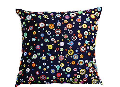 Amore Beaute Handcrafted Navy Blue Decorative Throw Pillow Cover with Colorful Beads Embroidery - Navy Blue Bead Accent Pillows with Red, Yellow, Blue, Green, Orange Beads - Contemporary Cushion Cover ()
