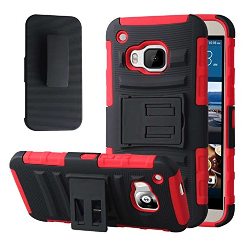 HTC One M9 Case, MPERO IMPACT XT Series Dual Layered Tough Durable Shock Absorbing Silicone Textured Reinforced Rubberized Polycarbonate Hybrid Belt Clip Kickstand Case for One M9 [Perfect Fit & Precise Port Cut Outs] - Red