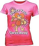 Fraggle Rock Red Dance Your Cares Away Hot Pink Juniors T-shirt Tee (Juniors Medium)
