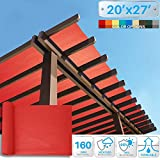 Patio 20' x 27' Sunblock Shade Cloth Roll,Red Sun Shade Fabric 95%UV Resistant Mesh Netting Cover for Outdoor,Backyard,Plant,Redhouse,Barn
