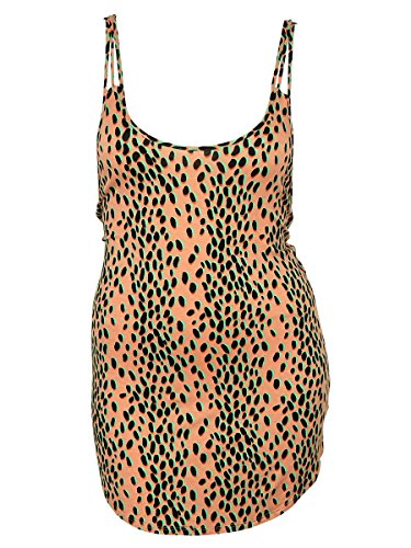 Bar III Sleeveless Animal Print Mini Low Back Swimsuit Cover-Up, Peach, (Low Back Animal Print)