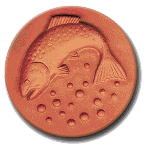 RYCRAFT 2 inch Round Cookie Stamp with Handle & Recipe Booklet-RAINBOW TROUT