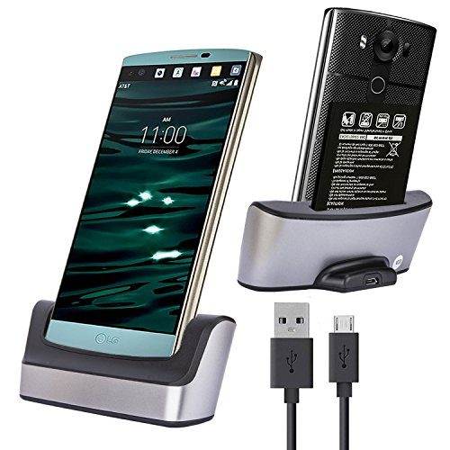 LG V10 Charger Dock Cradle, LG V10 Charging Station, Slook Dual Desktop Dock Charger with USB Cable-Support Charging Spare Mobile Cell Phone Charger Dock for LG V10 ()