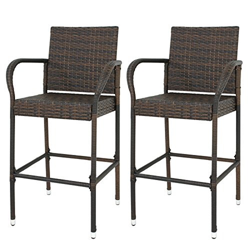 Nova Microdermabrasion Rattan Wicker Bar Stool Outdoor Backyard Chair Patio Furniture Chair with Armrest – Set of 2 by Nova Microdermabrasion