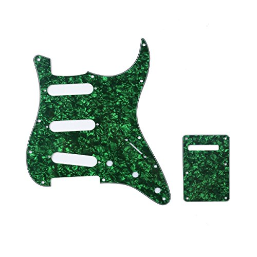 Musiclily SSS 11 Holes Strat Electric Guitar Pickguard and BackPlate Set for Fender US/Mexico Made Standard Stratocaster Modern Style Guitar Parts,4Ply Pearl Green